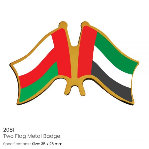 Two Flag Pin Badges