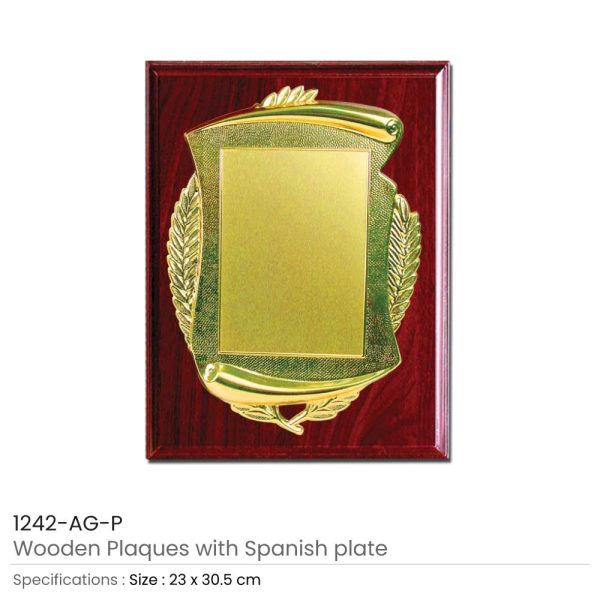 Wooden Plaque Gold Laserable Plate