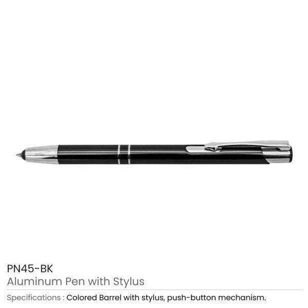 Black Aluminum Pens with Stylus