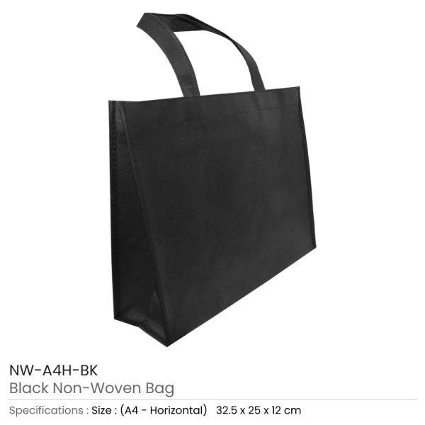 A4 Black Non Woven Bags