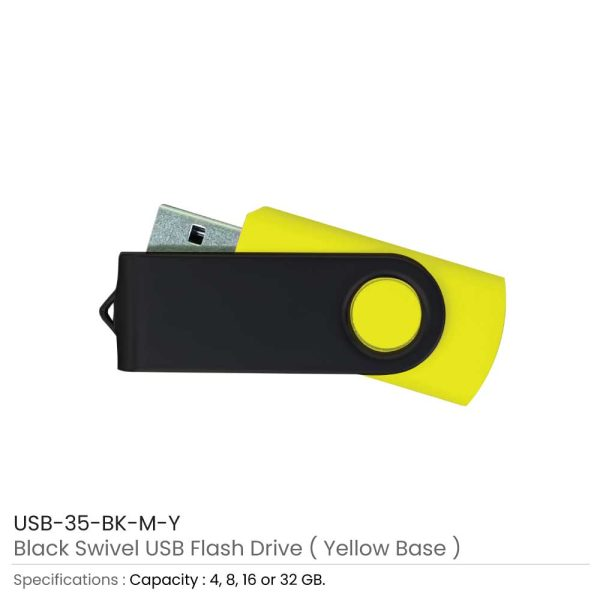 Black Swivel USB Yellow