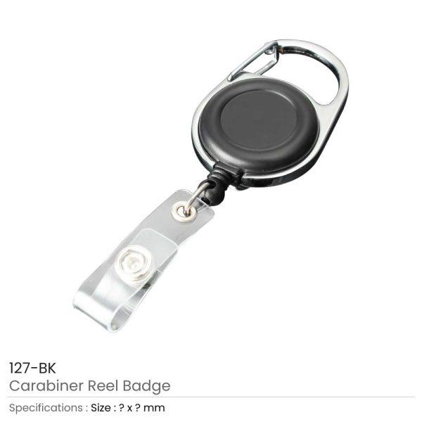 Carabiner Reel Badges Black