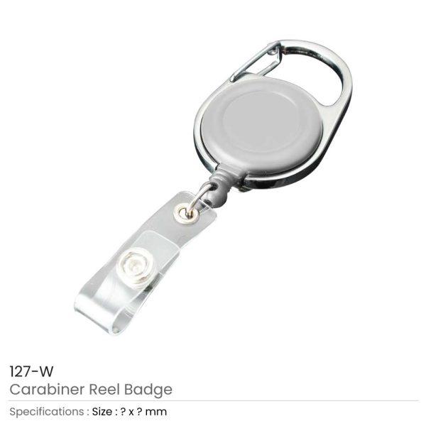Carabiner Reel Badges White