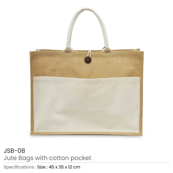 Jute Bags with Cotton Pocket