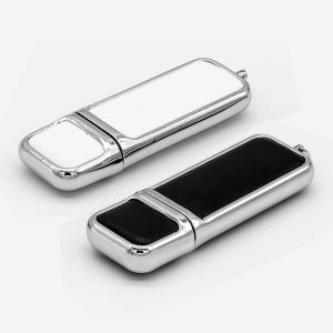 Leather with Chrome Finish USB-18-W