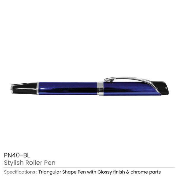 Blue Metal Roller Pen