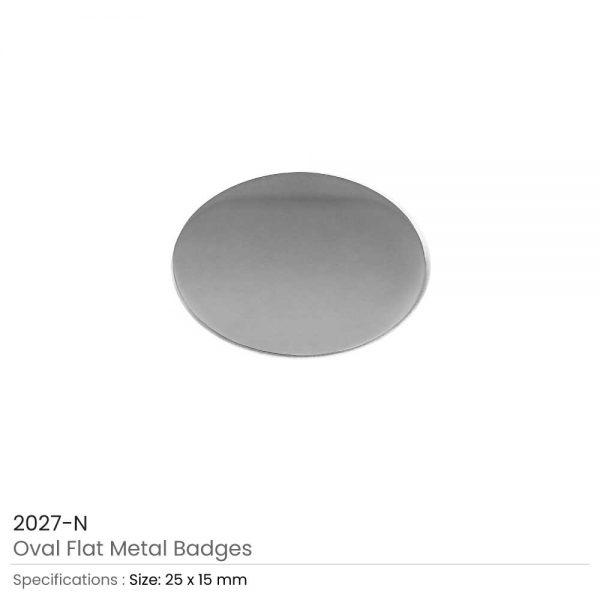 Oval Shape Flat Logo Badges Silver