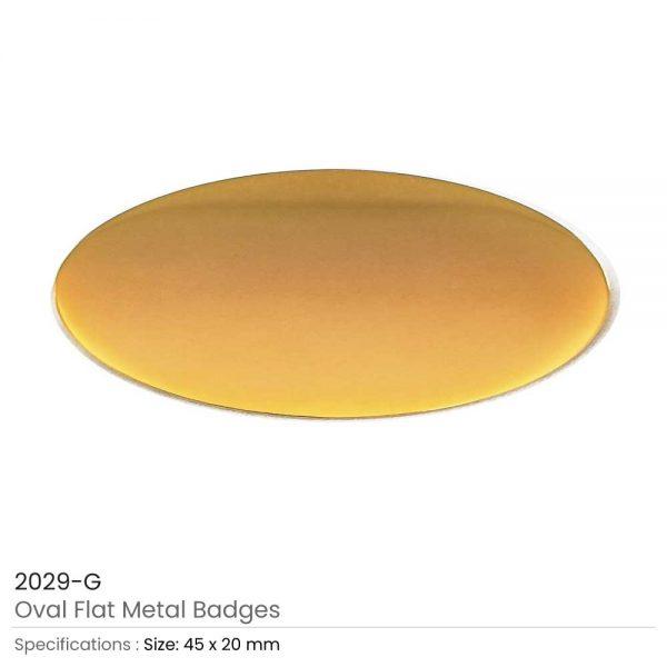 Gold Oval Flat Metal Badges
