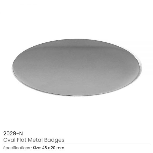 Silver Oval Flat Metal Badges