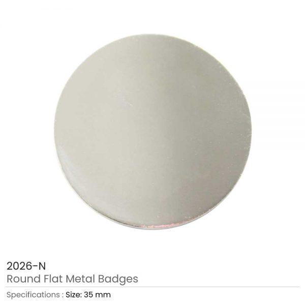 Round Flat Metal Badges Silver