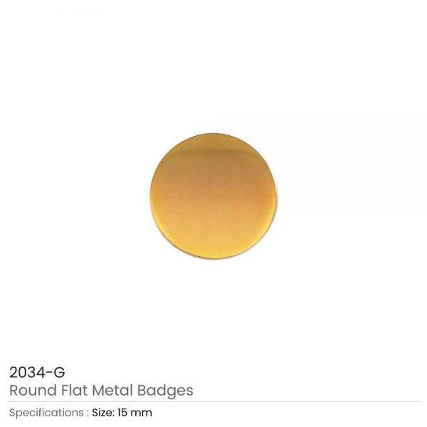 Gold Round Flat Metal Badges