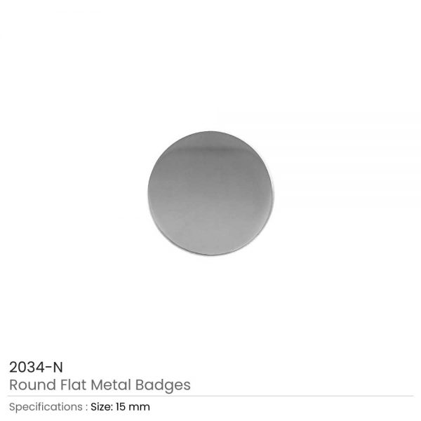 Silver Round Flat Metal Badges
