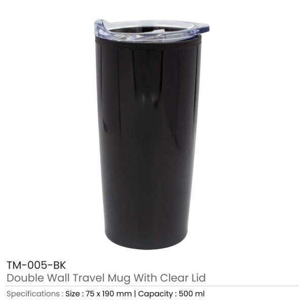 Double Wall Travel Mugs with Clear Lid Black