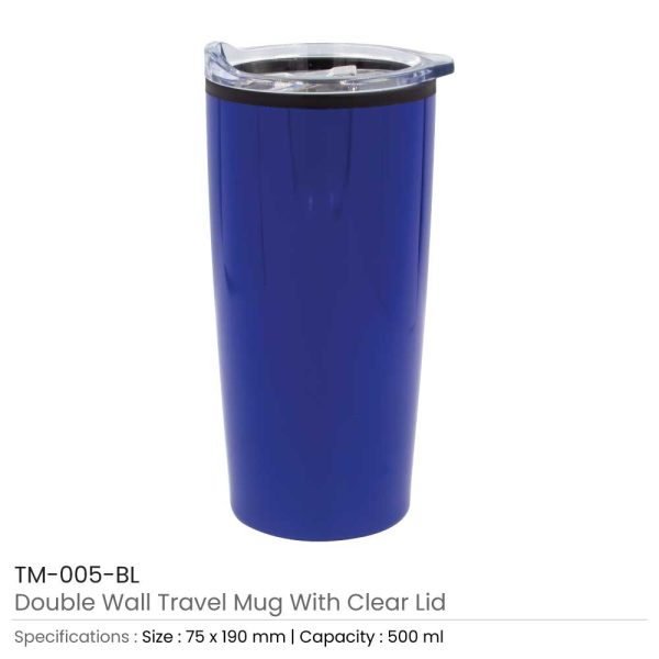 Double Wall Travel Mugs with Clear Lid Dark blue