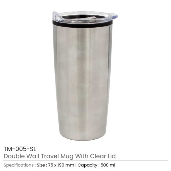 Double Wall Travel Mugs with Clear Lid Silver