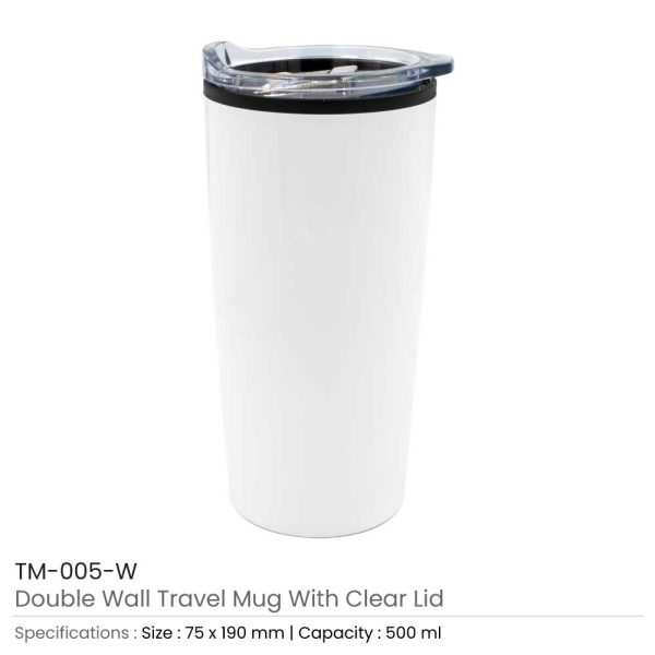 Double Wall Travel Mugs with Clear Lid White