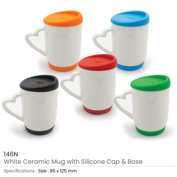 White Ceramic Mugs with Silicone Cap-and-Base-146N