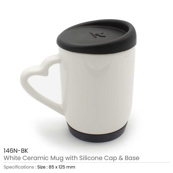 White Ceramic Mugs with Silicone Cap and Base 146N-BK