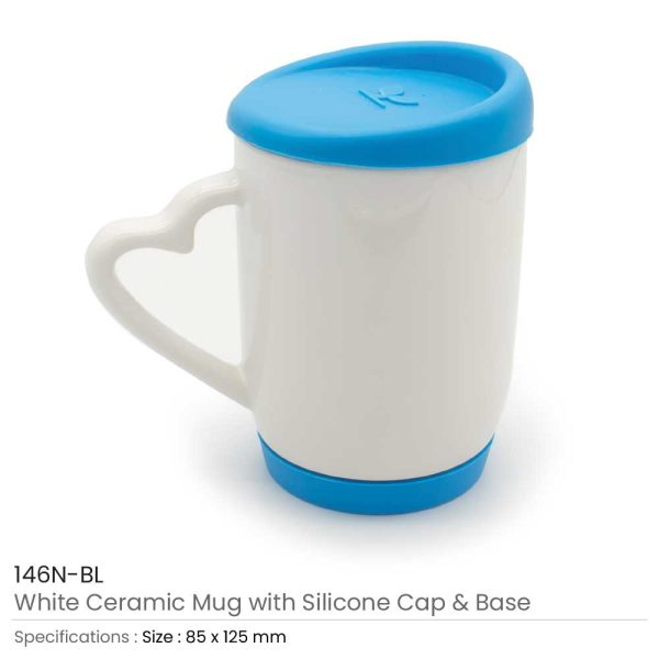 White Ceramic Mugs with Silicone Cap and Base 146N-BL
