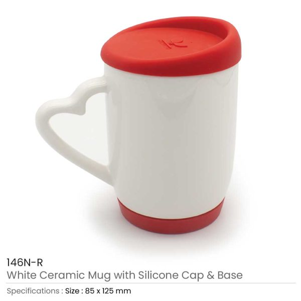 White Ceramic Mugs with Silicone Cap-and-Base-146N-R