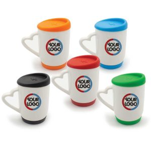 Branding White Ceramic Mugs with Silicone Cap and Base 146N
