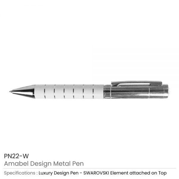 Amabel Design Metal Pens White