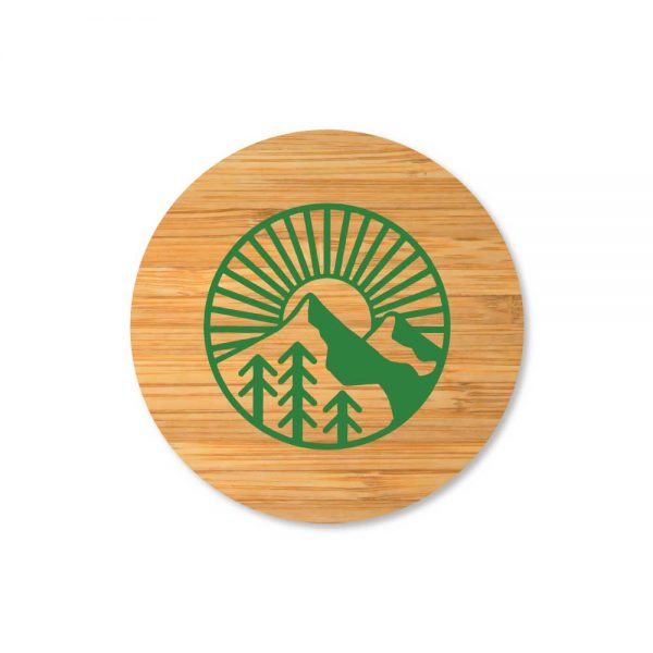 Branding Double Wall Clear Glass Mug Bamboo Lid