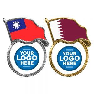 Flag Metal Logo Badges