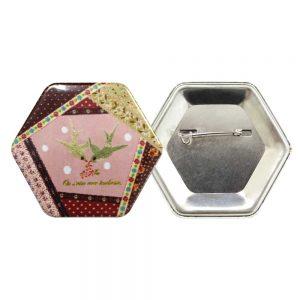 Hexagon Button Badges Printing