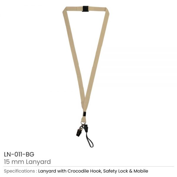 Lanyard with Mobile Holder Beige