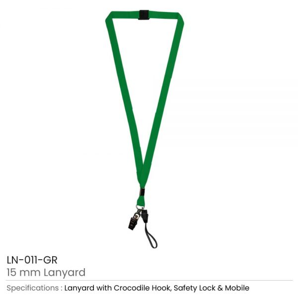 Lanyard with Mobile Holder Green