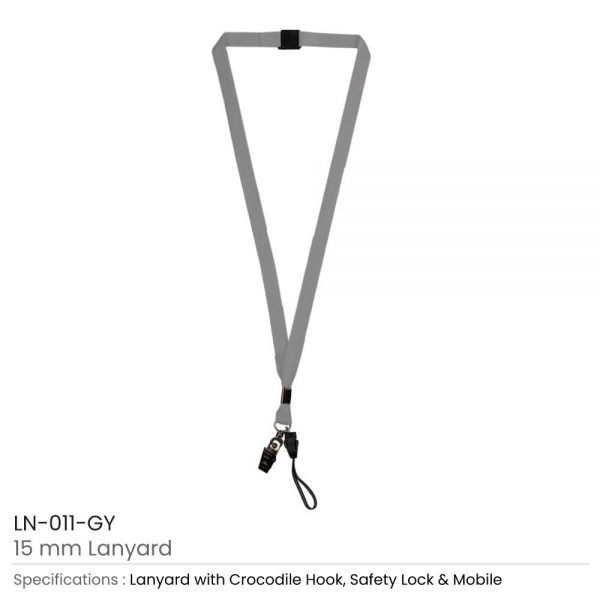 Lanyard with Mobile Holder Grey