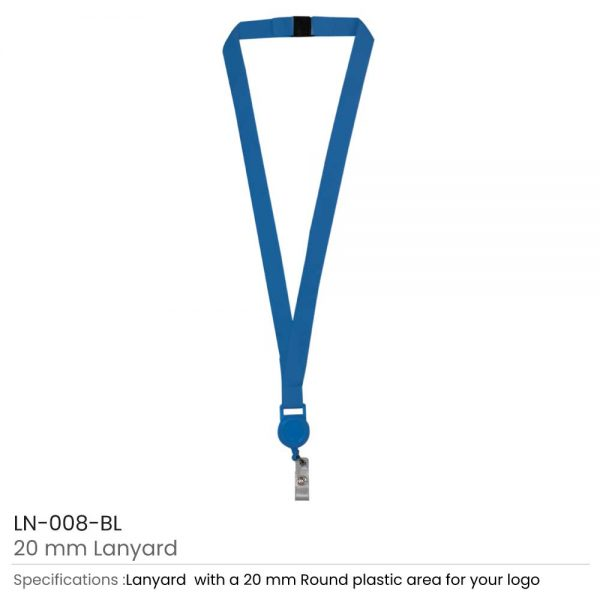 Lanyard with Reel Badge and Safety Lock Blue
