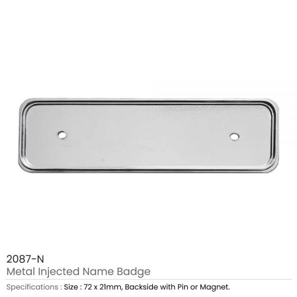 Silver Metal Injected Name Badge