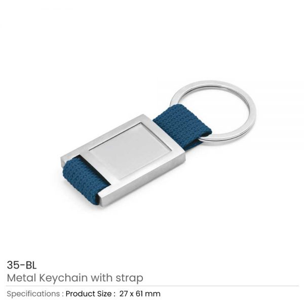 Metal Keychain with Strap Blue