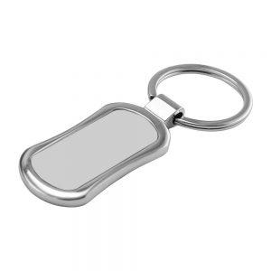 Rectangular Oval Metal Keychain