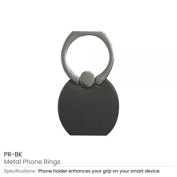 Metal Phone Rings Black
