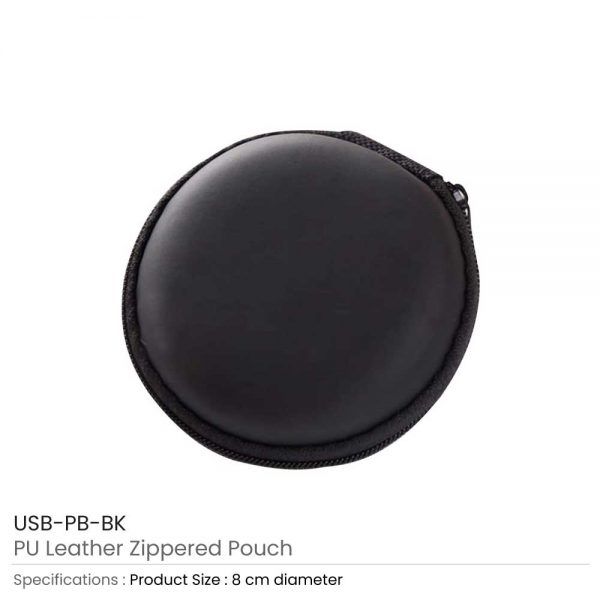 PU Leather Zippered Pouch Black