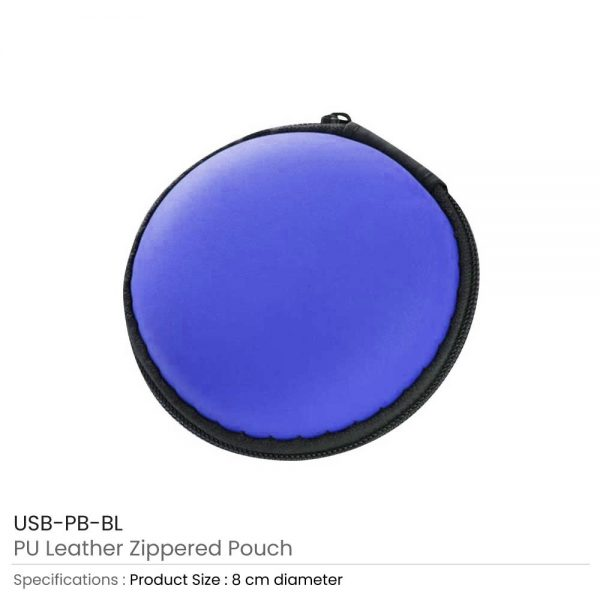 PU Leather Zippered Pouch Blue
