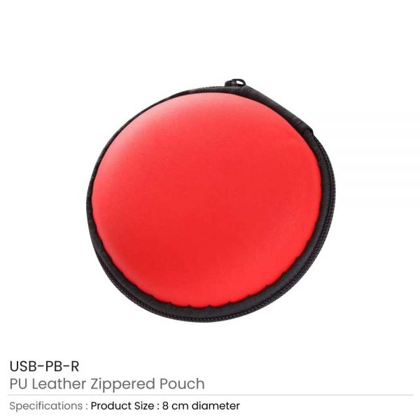 PU Leather Zippered Pouch Red