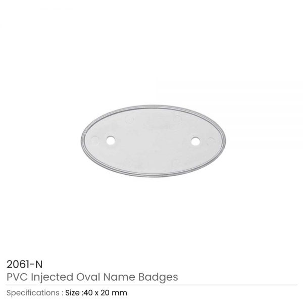 PVC Injected Oval Badges Silver