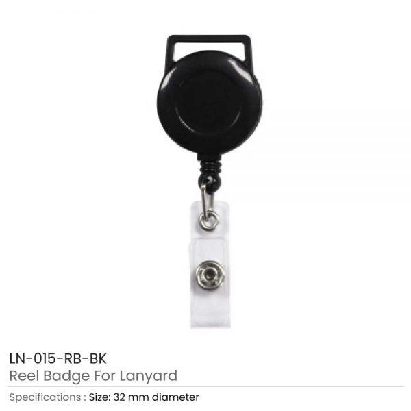 Black Reel Badge For Lanyard