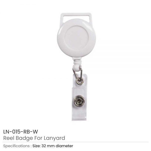 White Reel Badge For Lanyard