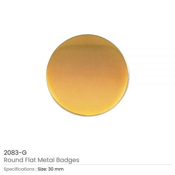 Round Flat Metal Badges Gold