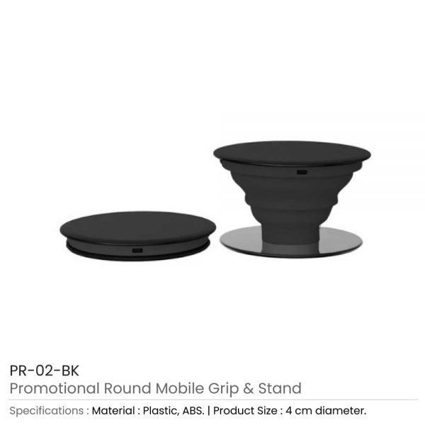 Round Mobile Grip and Stand Black