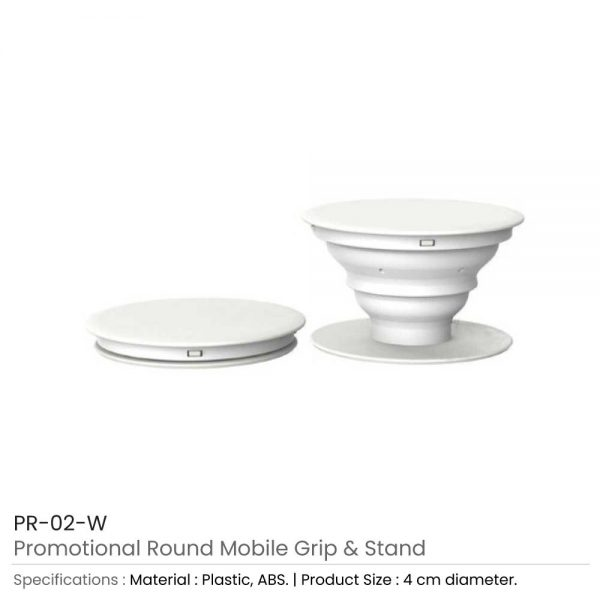 Round Mobile Grip and Stand White