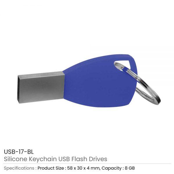 Silicone Key chain USB Blue