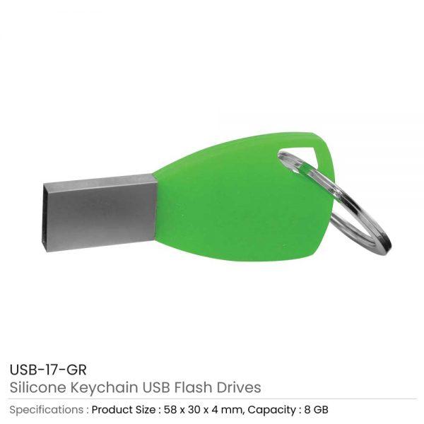 Silicone Key chain USB Green