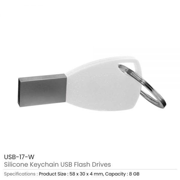 Silicone Key chain USB White