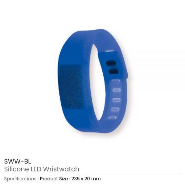 Wristband with Digital Watch Blue